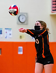 PLYMOUTH, CT-111020JS14 —Terryville Emily Ieronimo (0) (bumps the ball during their match against Wolcott Tech Tuesday at Terryville High School. <br /> Jim Shannon Republican-American