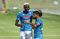 Lorenzo Insigne of SSC Napoli celebrates with  Victor Osimhen after scoring a goal<br /> during the friendly football match between SSC Napoli and L Aquila 1927 at stadio Patini in Castel di Sangro, Italy, August 28, 2020. <br /> Photo Cesare Purini / Insidefoto