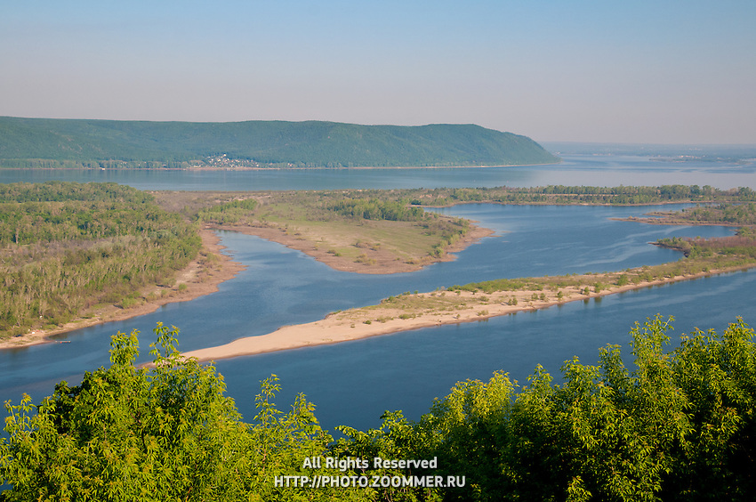View to the Volga river and Zelenenky island from observation deck near Samara