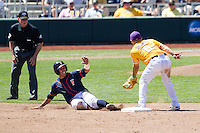 Cal State Fullerton third baseman Jerrod Bravo (12) slides into second base during the NCAA College baseball World Series against the LSU Tigers on June 16, 2015 at TD Ameritrade Park in Omaha, Nebraska. LSU defeated Fullerton 5-3. (Andrew Woolley/Four Seam Images)