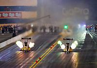 Jul 28, 2017; Sonoma, CA, USA; NHRA top fuel driver Tony Schumacher (left) races alongside Leah Pritchett during qualifying for the Sonoma Nationals at Sonoma Raceway. Mandatory Credit: Mark J. Rebilas-USA TODAY Sports