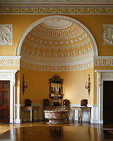 Kedleston Hall, Derbyshire, England, 1759 - 1765. The State Dining Room. Semi-domed apsial end, displaying caddies.