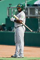 Rashun Dixon (12) of the Beloit Snappers waits in the on deck circle during the Midwest League game against the Lansing Lugnuts at Cooley Law School Stadium on May 5, 2013 in Lansing, Michigan.  The Lugnuts defeated the Snappers 5-4.  (Brian Westerholt/Four Seam Images)