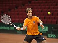 10-09-13,Netherlands, Groningen,  Martini Plaza, Tennis, DavisCup Netherlands-Austria, Training, Jean-Julien Rojer  (NED)<br /> Photo: Henk Koster