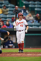 Altoona Curve catcher Jackson Williams (43) at bat during a game against the New Hampshire Fisher Cats on May 11, 2017 at Peoples Natural Gas Field in Altoona, Pennsylvania.  Altoona defeated New Hampshire 4-3.  (Mike Janes/Four Seam Images)