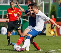 Soccer, UEFA U-17.France Vs. England.Soualiho Meite of France and Alex Henshall of England in action.Indjija, 03.05.2011..foto: Srdjan Stevanovic