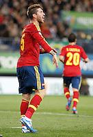 Spain's national team Sergio Ramos reacts during match. October 16, 2012. (ALTERPHOTOS/Alvaro Hernandez) /NORTEPhoto