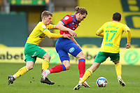20th March 2021; Carrow Road, Norwich, Norfolk, England, English Football League Championship Football, Norwich versus Blackburn Rovers; Jacob Lungi Sorensen of Norwich City fouls Sam Gallagher of Blackburn Rovers