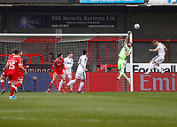 10th January 2021; Broadfield Stadium, Crawley, Sussex, England; English FA Cup Football, Crawley Town versus Leeds United; Kiko Casilla goalkeeper for Leeds united punches clear from a high cross early in the game