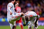 Sergio Ramos of Spain (R) kisses Isco Alarcon shoes (L) while celebrates a score during the International Friendly 2018 match between Spain and Argentina at Wanda Metropolitano Stadium on 27 March 2018 in Madrid, Spain. Photo by Diego Souto / Power Sport Images