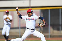 Bristol State Liners starting pitcher Fernando Medina (18) (St. Thomas) during a game against the Kingsport Axemen on June 13, 2021 at Boyce Cox Field in Bristol, Virginia. (Tracy Proffitt/Four Seam Images)