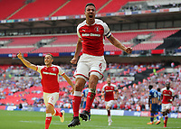 27th May 2018, Wembley Stadium, London, England;  EFL League 1 football, playoff final, Rotherham United versus Shrewsbury Town;  Richard Wood of Rotherham United celebrates scoring his sides 1st goal in the 31st minute to make it 1-0