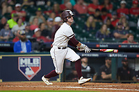 Luke Alexander (7) of the Mississippi State Bulldogs follows through on his swing against the Houston Cougars in game six of the 2018 Shriners Hospitals for Children College Classic at Minute Maid Park on March 3, 2018 in Houston, Texas. The Bulldogs defeated the Cougars 3-2 in 12 innings. (Brian Westerholt/Four Seam Images)