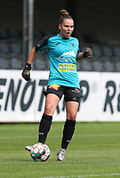 Aalst's goalkeeper Silke Baccarne with the ball during a female soccer game between Eendracht Aalst and Dames Club Brugge YLA on the first matchday of the 2020 - 2021 season of Belgian Women's SuperLeague , friday 28 of August 2020  in Aalst , Belgium . PHOTO SPORTPIX.BE | SPP | SEVIL OKTEM