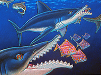 illustration, Edestus giganteus, giant Paleozoic scissortooth shark, known only from fossilized tooth rows, 300 MYA, prehistoric shark