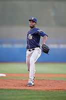 San Antonio Missions starting pitcher Enyel De Los Santos (10) delivers a pitch during a game against the Tulsa Drillers on June 1, 2017 at ONEOK Field in Tulsa, Oklahoma.  Tulsa defeated San Antonio 5-4 in eleven innings.  (Mike Janes/Four Seam Images)