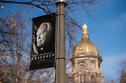 Feb. 27, 2015; Banner in honor of the death of President Emeritus Theodore M. Hesburgh. (Photo by Matt Cashore/University of Notre Dame)