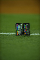 2 April 2016: An X-Rite Color Checker is photographed on the turf to help with color balance prior to an exhibition game between the Toronto Blue Jays and the Boston Red Sox at Olympic Stadium in Montreal, Quebec, Canada. The Red Sox defeated the Blue Jays 7-4 in the second of two MLB weekend games, which saw a two-game series attendance of 106,102 at the former home on the Montreal Expos. Mandatory Credit: Ed Wolfstein Photo *** RAW (NEF) Image File Available ***