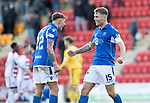St Johnstone v Hamilton Accies…26.10.19   McDiarmid Park   SPFL<br />Jason Kerr celebrates with Callum Hendry at full time<br />Picture by Graeme Hart.<br />Copyright Perthshire Picture Agency<br />Tel: 01738 623350  Mobile: 07990 594431