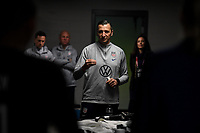 JACKSONVILLE, FL - NOVEMBER 10: Vlatko Andonovski USWNT head coach talks with his players during a game between Costa Rica and USWNT at TIAA Bank Field on November 10, 2019 in Jacksonville, Florida.