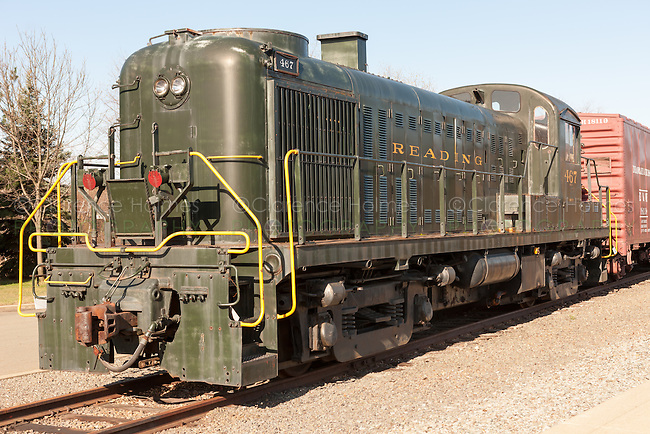 ALCO RS-3 diesel switcher in Reading livery at the Steamtown National Historic Site in Scranton, Pennsylvania