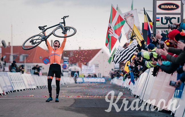An emotional Mathieu Van Der Poel (NED/Correndon-Circus) crosses the finish line victoriously<br /> <br /> Men's Elite race<br /> <br /> UCI 2019 Cyclocross World Championships<br /> Bogense / Denmark<br /> <br /> ©kramon