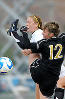 USC's Ashley Nick and Missouri's Mo Redmond. USC defeated Missouri 1-0 in overtime of an NCAA tournament women's soccer second round match at Walton Stadium in Columbia, Missouri on November 18, 2007.