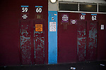 West Ham United 2 Crystal Palace 2, 02/04/2016. Boleyn Ground, Premier League. Turnstile entrances to the East Stand at the Boleyn Ground, pictured before West Ham United hosted Crystal Palace in a Barclays Premier League match. The Boleyn Ground at Upton Park was the club's home ground from 1904 until the end of the 2015-16 season when they moved into the Olympic Stadium, built for the 2012 London games, at nearby Stratford. The match ended in a 2-2 draw, watched by a near-capacity crowd of 34,857. Photo by Colin McPherson.