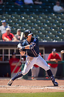 Northwest Arkansas Naturals infielder Travis Jones (27) looks to take a swing on a pitch on May 19, 2019, at Arvest Ballpark in Springdale, Arkansas. (Jason Ivester/Four Seam Images)
