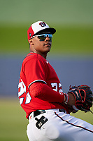 Washington Nationals Juan Soto (22) during warmups before a Major League Spring Training game against the Miami Marlins on March 20, 2021 at FITTEAM Ballpark of the Palm Beaches in Palm Beach, Florida.  (Mike Janes/Four Seam Images)