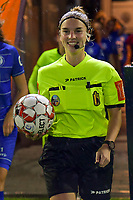 referee Jana Van Laere (M) pictured before a female soccer game between AA Gent Ladies and SV Zulte-Waregem on the fifth matchday in the 2021 - 2022 season of Belgian Scooore Womens Super League , friday 1 October 2021  in Oostakker , Belgium . PHOTO SPORTPIX | STIJN AUDOOREN