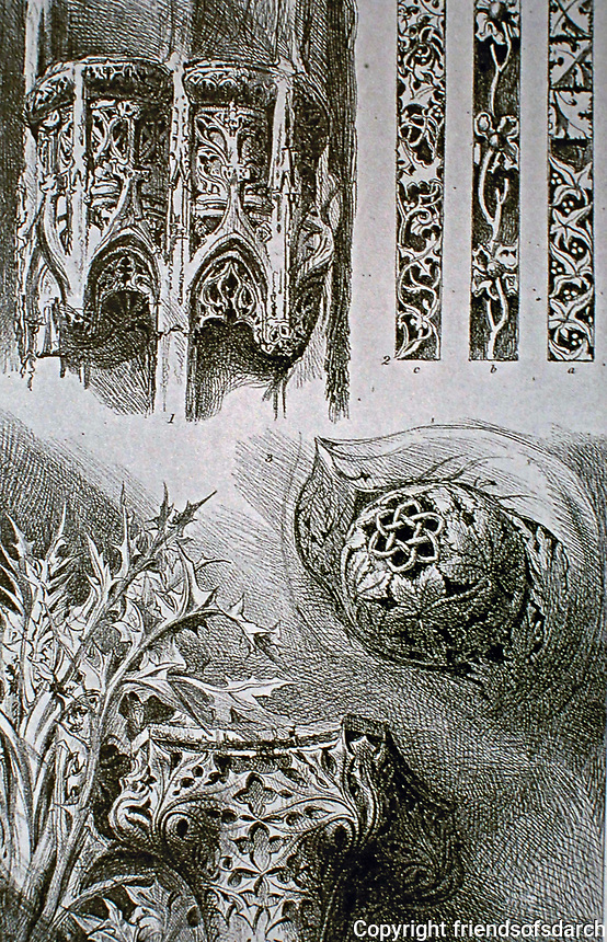 The Seven Lamps of Architecture, Plate 1 by John Ruskin. Ornaments from Rouen, St. Lô, and Venice, 1855.
