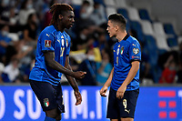 Moise Kean and Giacomo Raspadori of Italy talk during the Qatar 2022 world cup qualifying football match between Italy and Lithuania at Citta del tricolore stadium in Reggio Emilia (Italy), September 8th, 2021. Photo Andrea Staccioli / Insidefoto