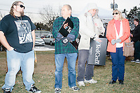 People gather before Texas senator and Republican presidential candidate Ted Cruz speaks at a Second Amendment Rally outside Granite State Indoor Range in Hudson, New Hampshire.