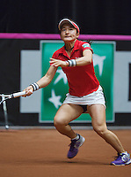 The Netherlands, Den Bosch, 20.04.2014. Fed Cup Netherlands-Japan, Aoyama (JPN)<br /> Photo:Tennisimages/Henk Koster