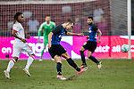 FC Internazionale Forward Ivan Perisic (R) looks to bring the ball down during the International Champions Cup match between FC Bayern and FC Internazionale at National Stadium on July 27, 2017 in Singapore. Photo by Marcio Rodrigo Machado / Power Sport Images