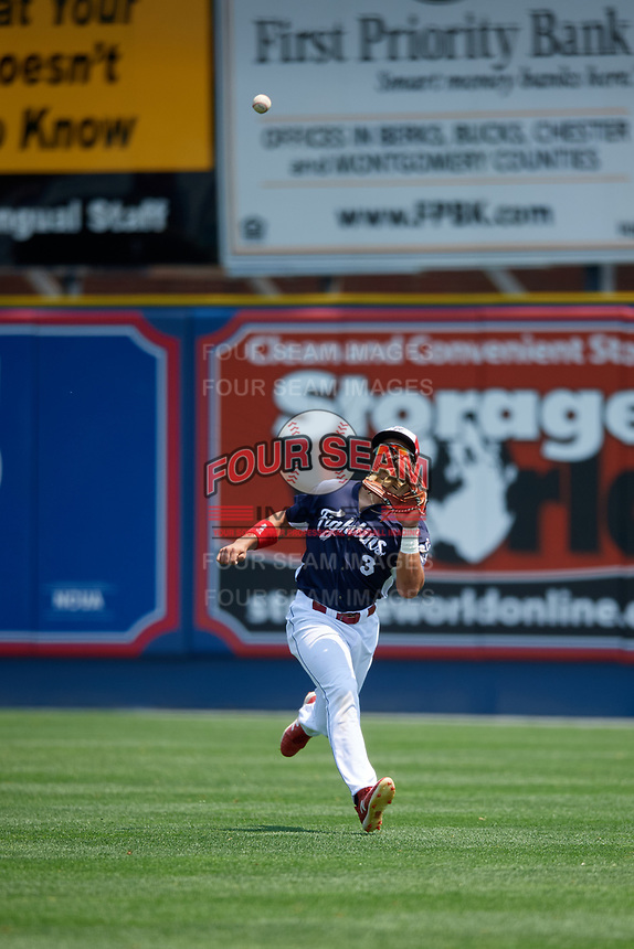 Reading Fightin Phils right fielder Jan Hernandez (3) tracks down a fly ball during the first game of a doubleheader against the Portland Sea Dogs on May 15, 2018 at FirstEnergy Stadium in Reading, Pennsylvania.  Portland defeated Reading 8-4.  (Mike Janes/Four Seam Images)