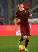 Calcio, Serie A: Roma vs Milan. Roma, stadio Olimpico, 9 gennaio 2016.<br /> Roma's Lucas Digne in action during the Italian Serie A football match between Roma and Milan at Rome's Olympic stadium, 9 January 2016.<br /> UPDATE IMAGES PRESS/Riccardo De Luca