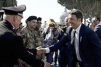 Roma, 2 Giugno 2015<br /> Altare della Patria.<br /> Matteo Renzi saluta militari<br /> Festa della Repubblica, 69° anniversario.<br /> In attesa della parata militare