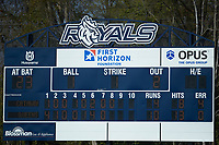 A closeup of the scoreboard during game two of a double-header between the Catawba Indians and the Queens Royals at Tuckaseegee Dream Fields on March 26, 2021 in Kannapolis, North Carolina. (Brian Westerholt/Four Seam Images)