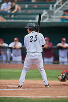 Wyatt Mascarella (25) of the Idaho Falls Chukars at bat against the Orem Owlz at Melaleuca Field on July 14, 2019 in Idaho Falls, Idaho. The Owlz defeated the Chukars 6-2. (Stephen Smith/Four Seam Images)