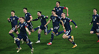 12th November 2020; Belgrade, Serbia; European International Football Playfoff Final, Serbia versus Scotland;  Scotland players celebrate victory after the penalty shootout with Ryan Jack, Scott McTominay, Kieran Tierney, Andrew Robertson, Callum Peterson, Declan Gallagher, Oliver McBurnie, Callum McGregor