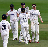 Jack Carson (R) of Sussex is congratulated after taking the wicket of Harry Houillon during Kent CCC vs Sussex CCC, LV Insurance County Championship Group 3 Cricket at The Spitfire Ground on 14th July 2021
