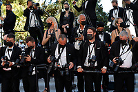 """CANNES, FRANCE - JULY 13: red carpet photographers at the """"Aline, The Voice Of Love"""" screening during the 74th annual Cannes Film Festival on July 13, 2021 in Cannes, France. <br /> CAP/GOL<br /> ©GOL/Capital Pictures"""