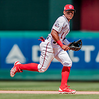 20 May 2018: Washington Nationals infielder Wilmer Difo in action against the Los Angeles Dodgers at Nationals Park in Washington, DC. The Dodgers defeated the Nationals 7-2, sweeping their 3-game series. Mandatory Credit: Ed Wolfstein Photo *** RAW (NEF) Image File Available ***