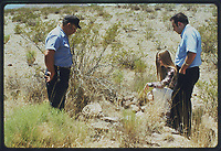 Socorro New Mexico : investigating traces of a landed UFO seen by a policeman (Zamora) / Unattributed photo / 24,04,1964