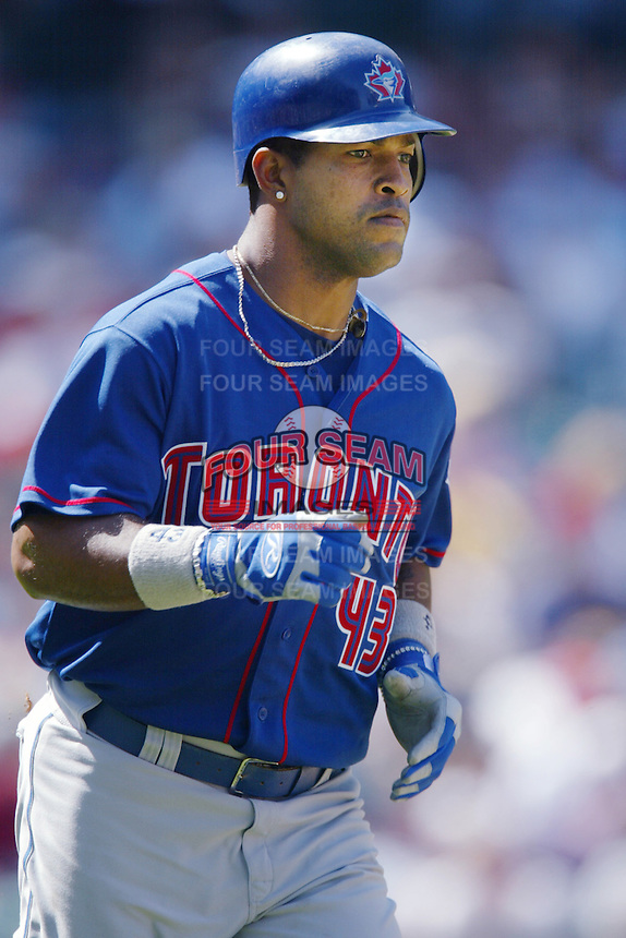 Raul Mondesi of the Toronto Blue Jays runs the bases during a 2002 MLB season game against the Los Angeles Angels at Angel Stadium, in Anaheim, California. (Larry Goren/Four Seam Images)
