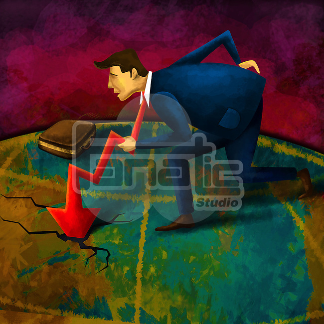 Conceptual shot of businessman's tie with downward arrow depicting failure in performance