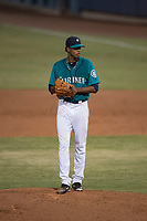 AZL Mariners starting pitcher Feliberto Bonilla (54) prepares to deliver a pitch during an Arizona League game against the AZL Royals at Peoria Sports Complex on July 25, 2018 in Peoria, Arizona. The AZL Mariners defeated the AZL Royals 5-3. (Zachary Lucy/Four Seam Images)
