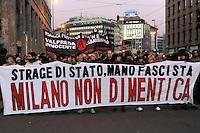 Milano, manifestazione in ricordo della strage di piazza Fontana e della banca dell'Agricoltura nel dicembre del 1969<br /> <br /> - Milan, demonstration to commemorate the massacre of Fontana square and Agriculture bank in December 1969